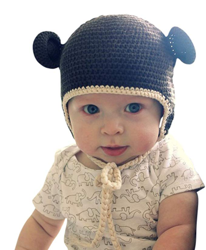 Melondipity Boys Chocolate Brown Organic Crochet Bear Baby Hat - Cute Beanie