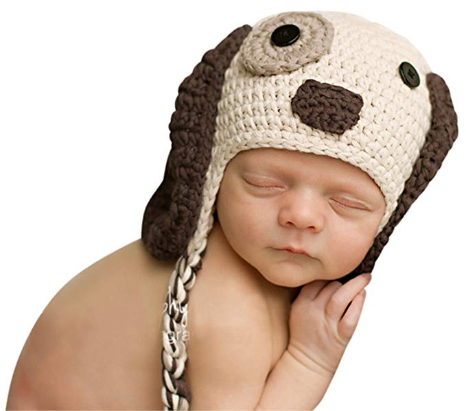 Melondipity Boys Little Puppy Dog Baby Hat - Crochet Animal Beanie