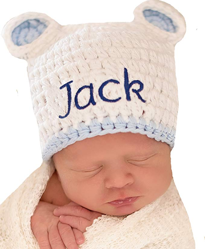 Melondipity Personalized WHITE Sugar Bear baby hat with blue trim