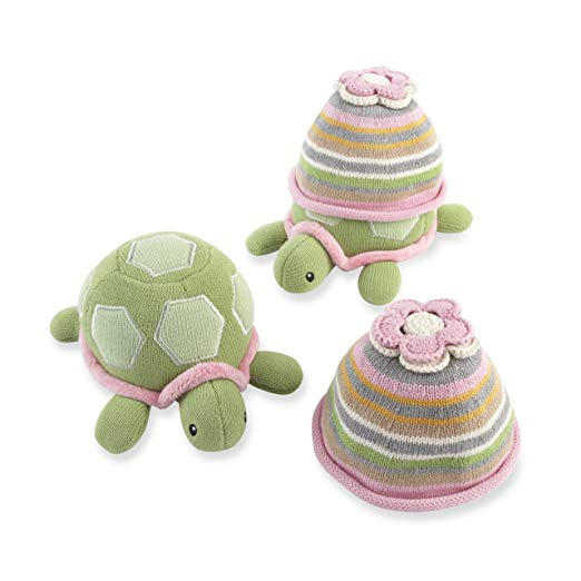 Baby Aspen Turtle Toppers Baby Hat and Turtle Plush Gift Set, Pink (Discontinued by Manufacturer)
